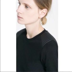 Zara Faux Leather Shoulder Pad Black Top